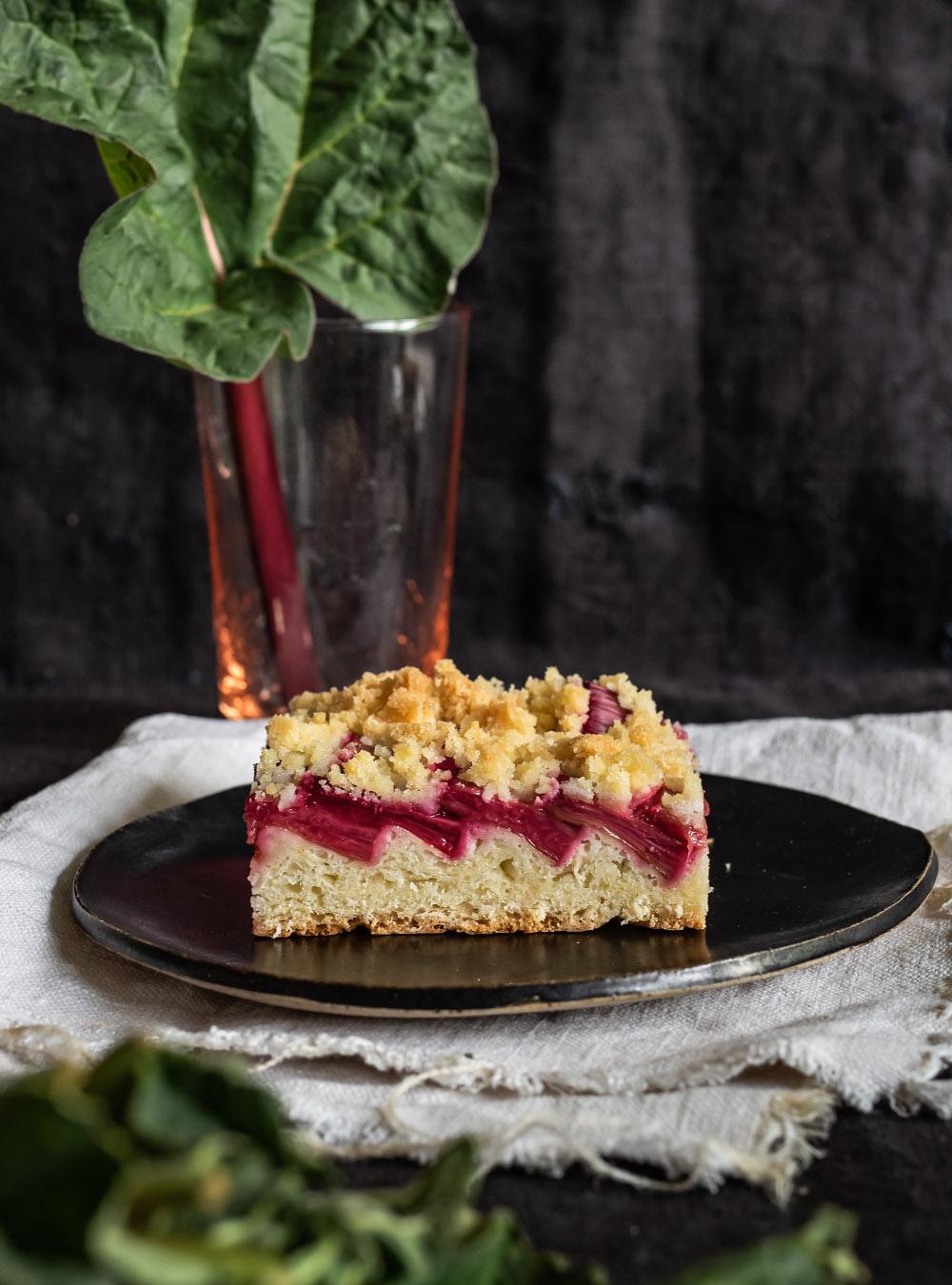 Super saftiger Rhabarberkuchen vom Blech mit Zwillingsteig dem idealen Teig für Obstkuchen