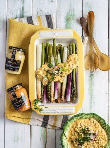 Spargel und Lauch mit Sauce Gribiche und zweierlei Senf