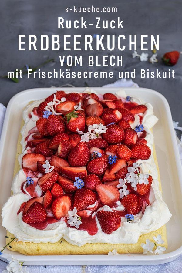 Ruck-Zuck Erdbeerkuchen vom Blech mit Frischkäsesahne, Biskuitboden