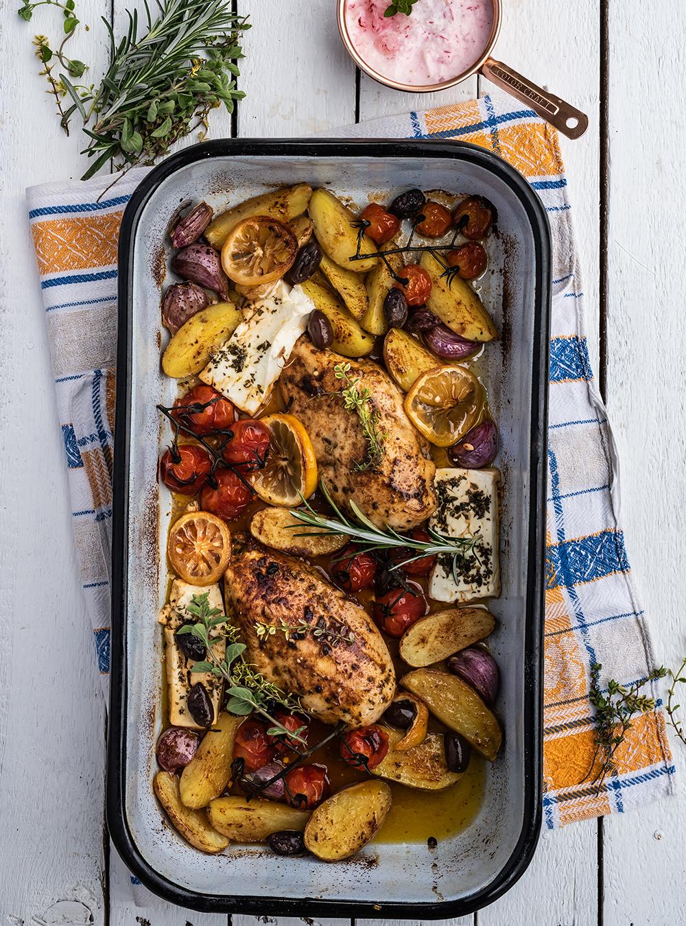 Griechisches mit Huhn - Fix vom Blech in 45 Minuten auf dem Tisch