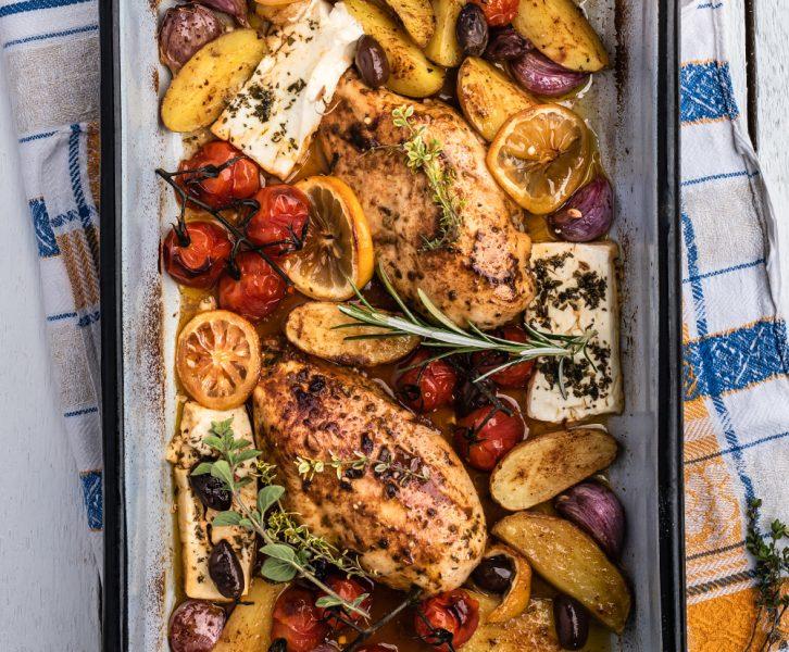 Griechisches mit Huhn - Fix vom Blech in 45