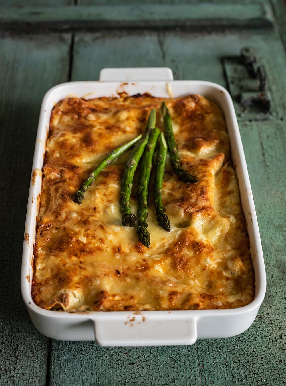 Spargel Lasagne - so wird geschichtet
