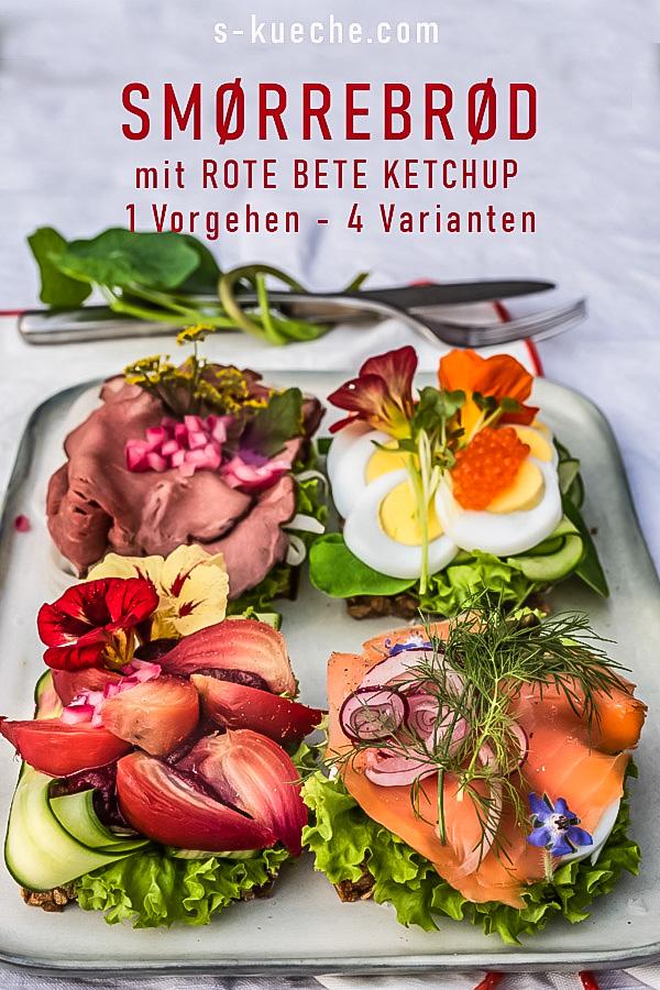 Smörrebröd wie in Kopenhagen, mit Rote Bete Ketchup und Frischkäse