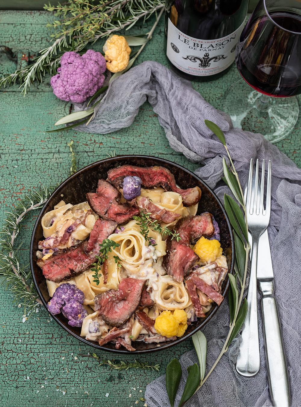 Sehr cremige Pasta mit Steakstreifen vom Tafelspitz