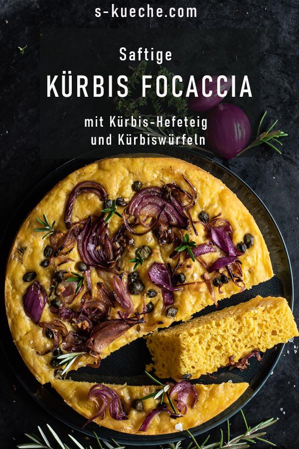 Kürbis Focaccia mit Zwiebeln und Kapern