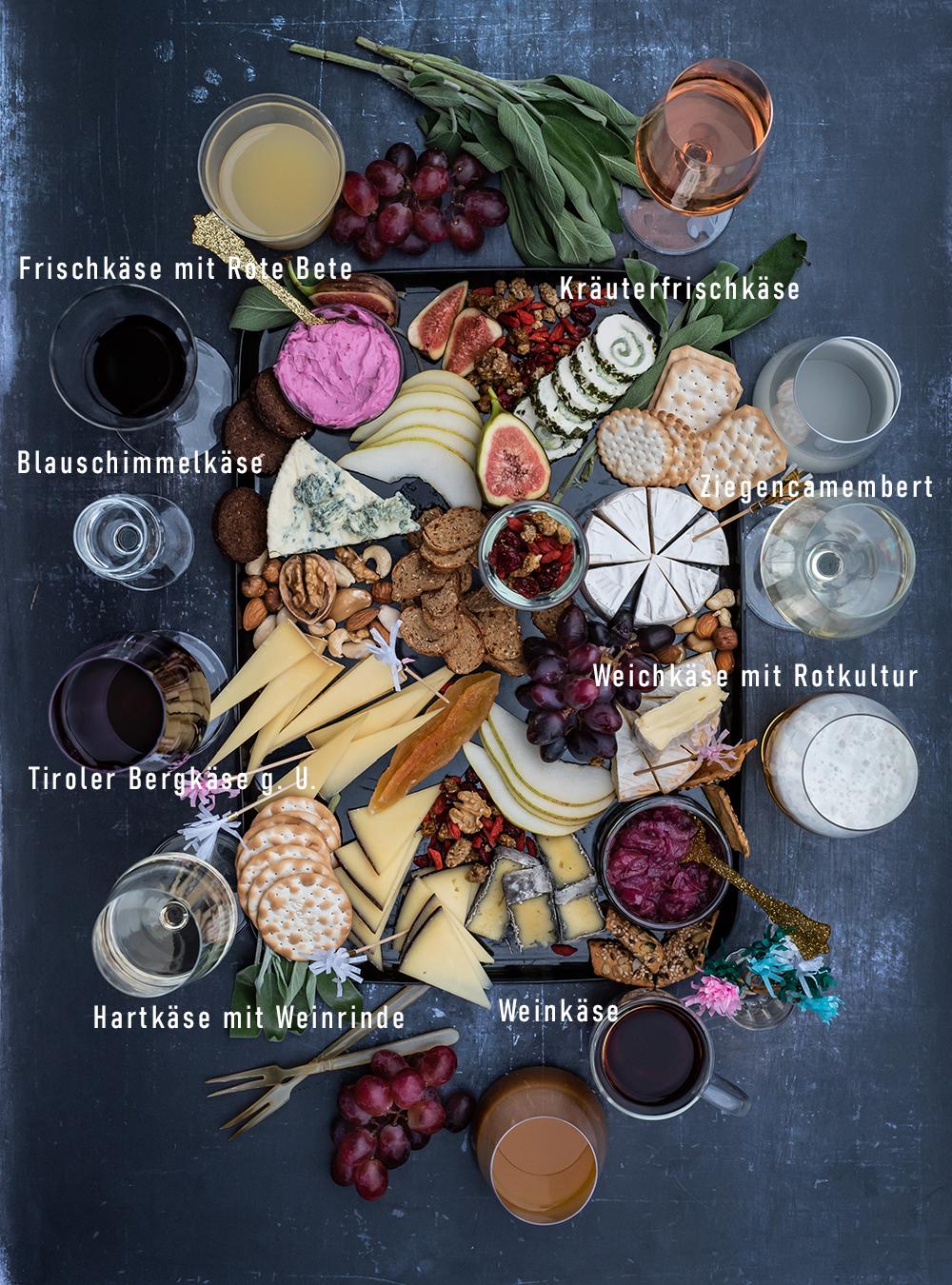 Käseplatte und die passenden Getränke