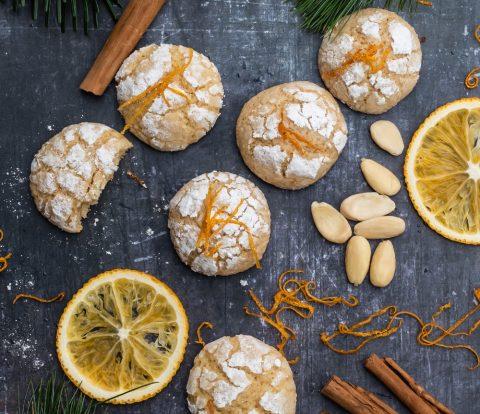 Orangen Mandel Zimt Plätzchen - Orange Crinkle Cookies