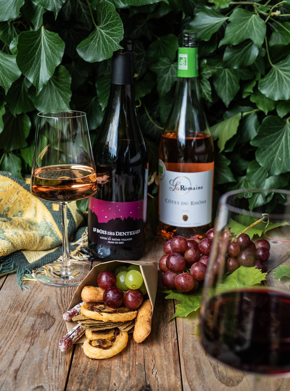 Sommer Picknick mit herzhaften Tomaten Palmiers und Wein aus Côtes du Rhône