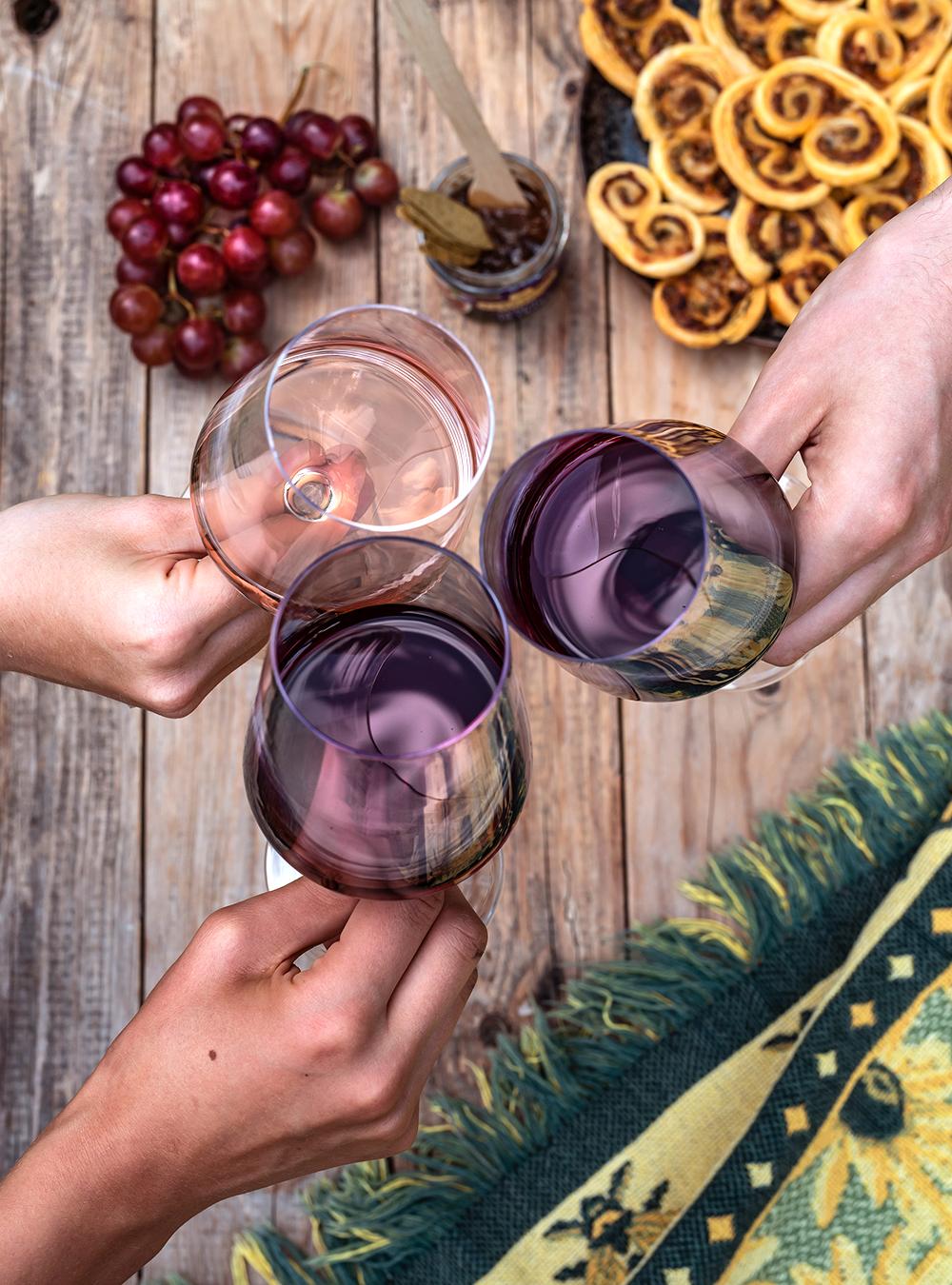 Sommer Picknick mit herzhaften Tomaten Palmiers in Snack-Tüten und Wein aus Côtes du Rhône - einfach lecker französisch genießen