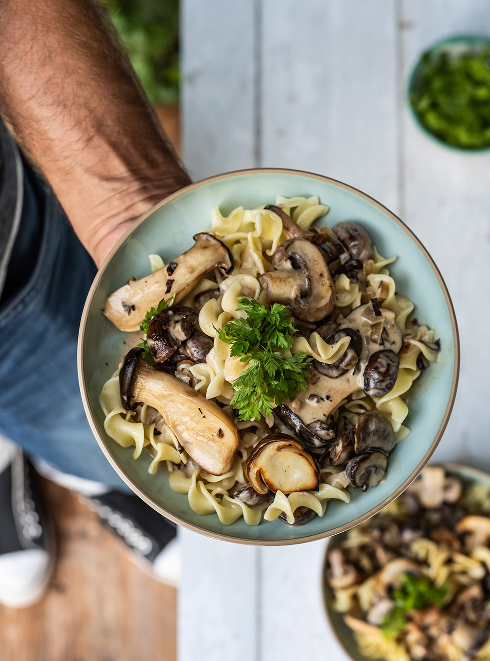 Schnelle Nudel Pilz Pfanne - Pilze in Rahmsauce, Pilzragout
